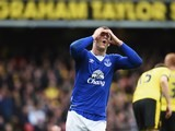 Ross Barkley reacts to a miss during the Premier League game between Watford and Everton on April 9, 2016