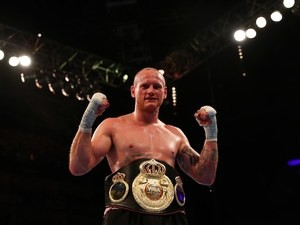 George Groves celebrates defeating David Brophy at The O2 on April 9, 2016