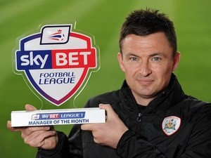 Paul Heckingbottom poses with his League One manager of the month award for March 2016