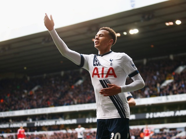 Dele Alli celebrates his opener during the Premier League game between Tottenham Hotspur and Manchester United on April 10, 2016