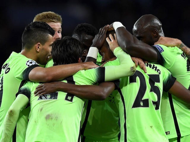 City players celebrate their equaliser during the Champions League quarter-final between Paris Saint-Germain and Manchester City on April 6, 2016