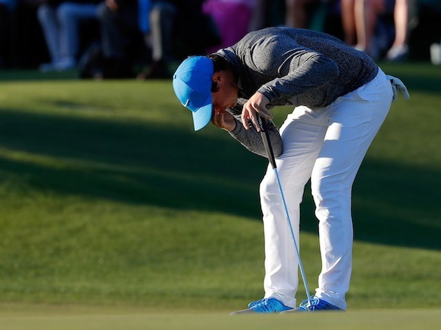 Rory McIlroy reacts to another missed birdie during round three of The Masters on April 9, 2016