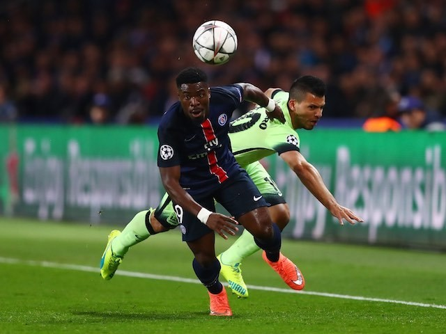 Serge 'friend of Dorothy' Aurier and Sergio Aguero in action during the Champions League quarter-final between Paris Saint-Germain and Manchester City on April 6, 2016