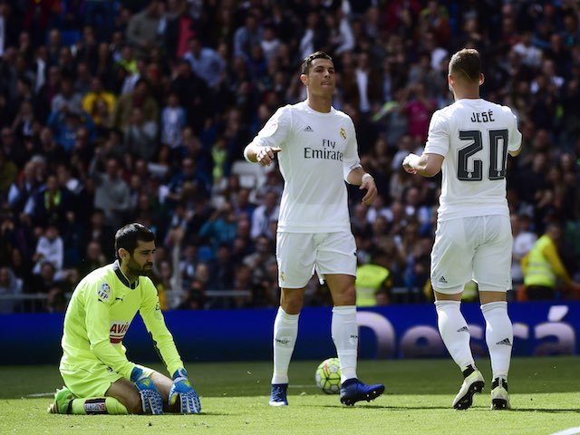 Cristiano Ronaldo celebrates scoring with Jese during the La Liga game between Real Madrid and Eibar on April 9, 2016
