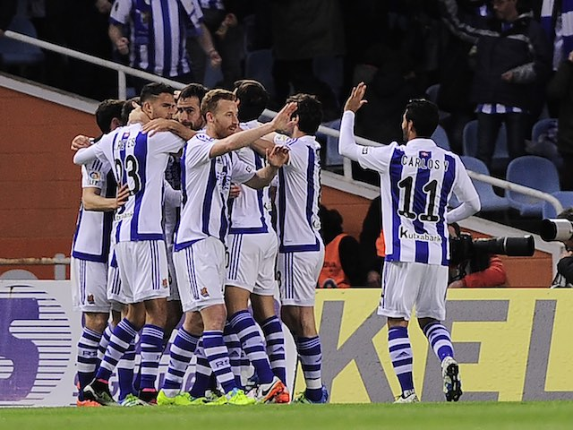 Real Sociedad players celebrate taking the advantage during the La Liga game between Real Sociedad and Barcelona on April 9, 2016