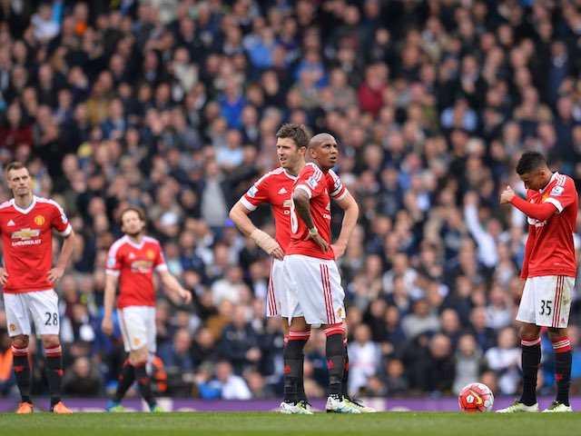 United players look despondent during the Premier League game between Tottenham Hotspur and Manchester United on April 10, 2016