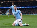 Kevin De Bruyne celebrates scoring during the Champions League quarter-final between Manchester City and Paris Saint-Germain on April 12, 2016