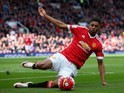 Marcus Rashford in action during the Premier League game between Manchester United and Aston Villa on April 16, 2016