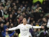 Cristiano Ronaldo celebrates his second during the Champions League quarter-final between Real Madrid and Wolfsburg on April 12, 2016