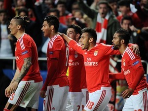 BENFICA players celebrate their goal during the Champions League quarter-final between Benfica and Bayern Munich on April 13, 2016