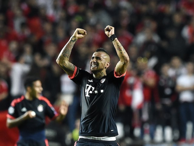 Arturo Vidal celebrates a goal during the Champions League quarter-final between Benfica and Bayern Munich on April 13, 2016