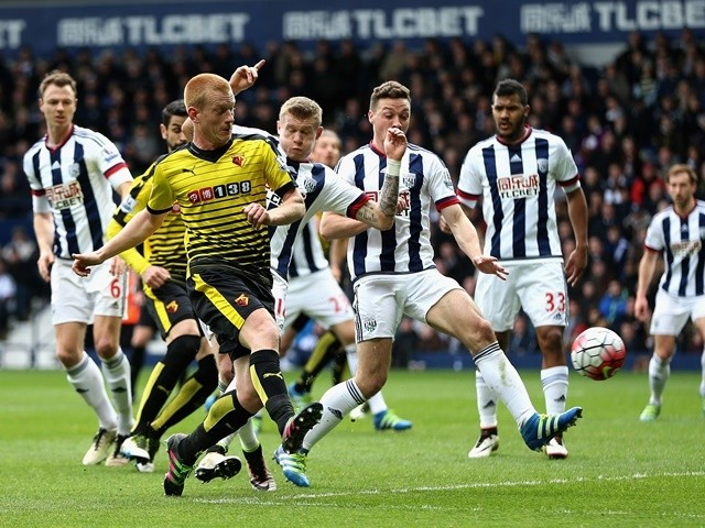 Ben Watson opens the scoring in the Premier League match between West Bromwich Albion and Watford on April 16, 2016