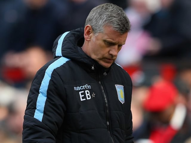 Eric Black looks downbeat during the Premier League game between Manchester United and Aston Villa on April 16, 2016