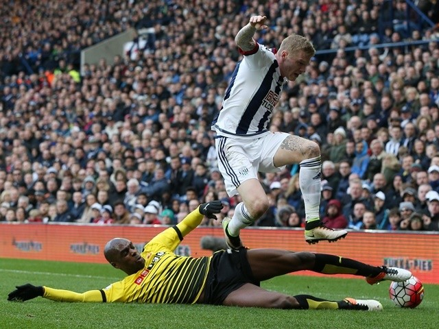James McClean and Allan Nyom during the Premier League match between West Bromwich Albion and Watford on April 16, 2016