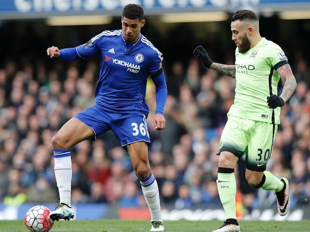 Ruben Loftus-Cheek and Nicolas Otamendi in action during the Premier League game between Chelsea and Manchester City on April 16, 2016