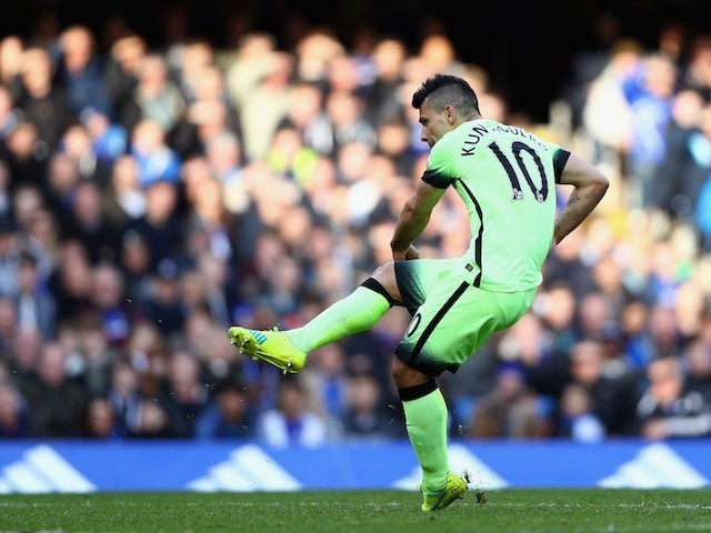Sergio Aguero scores the opener during the Premier League game between Chelsea and Manchester City on April 16, 2016