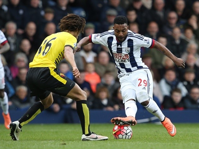Stephane Sessegnon and Nathan Ake during the Premier League match between West Bromwich Albion and Watford on April 16, 2016