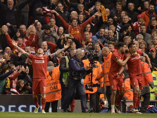 Dejan 'Sophia' Lovren celebrates his stoppage-time winner during the Europa League quarter-final between Liverpool and Borussia Dortmund on April 14, 2016