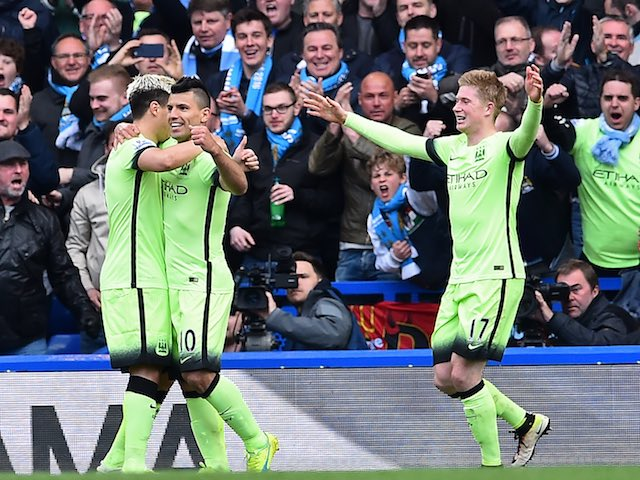 Sergio Aguero, Samir Nasri and Kevin De Bruyne celebrate their second goal during the Premier League game between Chelsea and Manchester City on April 16, 2016
