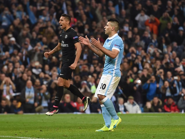 Sergio Aguero misses a penalty during the Champions League quarter-final between Manchester City and Paris Saint-Germain on April 12, 2016