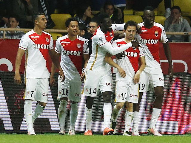 Silva Bernardo is congratulated by teammates during the Ligue 1 game between Monaco and Marseille on April 17, 2016