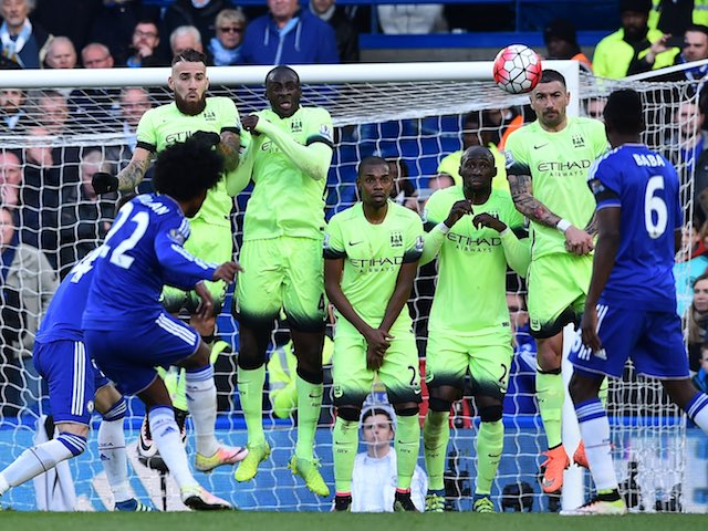 Willian takes a free kick during the Premier League game between Chelsea and Manchester City on April 16, 2016