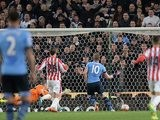 Harry Kane makes it three during the Premier League game between Stoke City and Tottenham Hotspur on April 18, 2016
