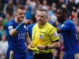 Leicester City striker Jamie Vardy kicks off after being sent off by Jonathan Moss on April 17, 2016