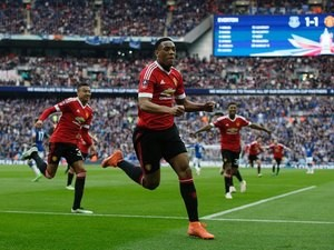 Anthony Martial celebrates his last-minute winner during the FA Cup semi-final between Everton and Manchester United on April 23, 2016