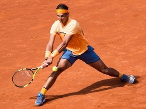 The mighty Rafael Nadal in action at the Barcelona Open on April 20, 2016