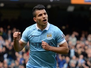 Sergio Aguero celebrates scoring from the spot during the Premier League game between Manchester City and Stoke City on April 23, 2016