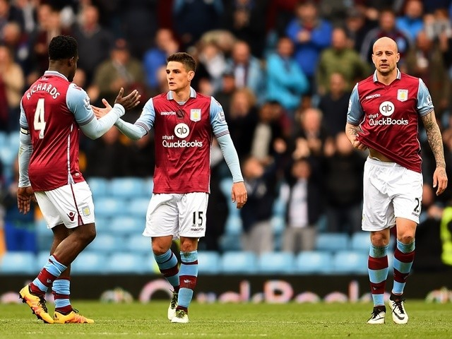 Ashley Westwood celebrates scoring during the Premier League game between Aston Villa and Southampton on April 23, 2016