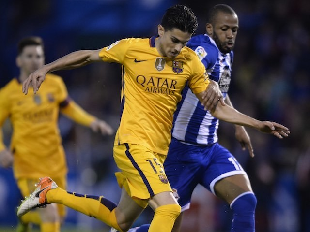 The delightful Marc Bartra gears up to score the seventh during the La Liga game between Deportivo La Coruna and Barcelona on April 20, 2016