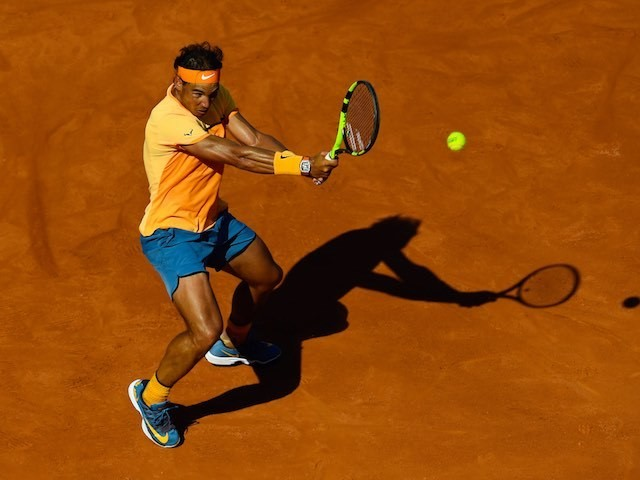 Rafael Nadal, who has not changed his shirt in a week, in action at the Barcelona Open on April 23, 2016