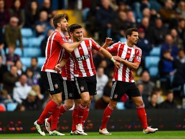 Shane Long celebrates scoring during the Premier League game between Aston Villa and Southampton on April 23, 2016