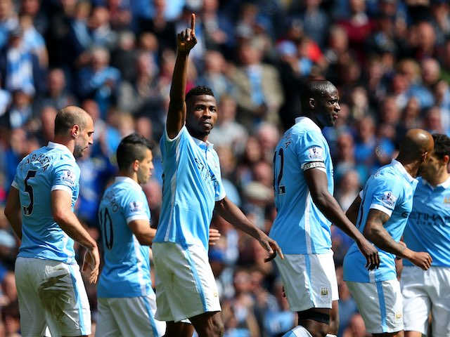 Kelechi Iheanacho celebrates scoring the third during the Premier League game between Manchester City and Stoke City on April 23, 2016