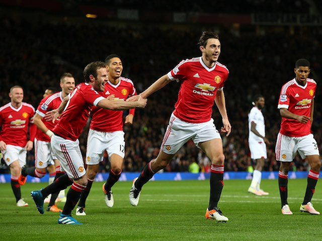 Matteo Darmian celebrates scoring the second during the Premier League game between Manchester United and Crystal Palace on April 20, 2016