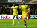 Adrian Lopez celebrates his late winner during the Europa League semi-final between Villarreal and Liverpool on April 28, 2016