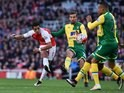 Alexis Sanchez has a shot on target during the Premier League game between Arsenal and Norwich City on April 30, 2016
