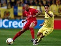 Nathaniel Clyne and Jaume Costa in action during the Europa League semi-final between Villarreal and Liverpool on April 28, 2016