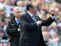 Rafael Benitez gestures to his wife during the Premier League game between Newcastle United and Crystal Palace on April 30, 2016