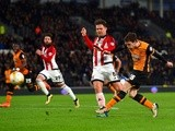 Andrew Robertson shoots on goal during the Championship match between Hull City and Brentford on April 26, 2016