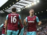 Mark Noble celebrates with Aaron Cresswell after scoring his side's third goal during the Premier League match between West Bromwich Albion and West Ham United on April 30, 2016