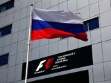 The Russian flag flies in the paddock during previews ahead of the Formula One Grand Prix of Russia at Sochi Autodrom on April 28, 2016