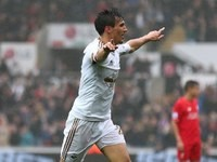 Big boy Jack Cork celebrates scoring during the Premier League game between Swansea City and Liverpool on May 1, 2016