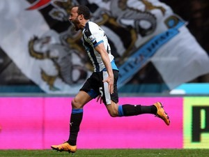 Andros Townsend celebrates scoring with his allegedly 'stunning' free kick during the Premier League game between Newcastle United and Crystal Palace on April 30, 2016
