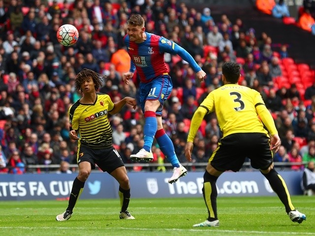 Connor Wickham scores Palace's second goal with a header during the FA Cup semi-final between Watford and Crystal Palace at Wembley Stadium on April 24, 2016