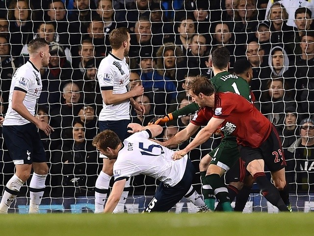 West Bromwich Albion's Craig Dawson scores his team's first goal during against Tottenham Hotspur on April 25, 2016