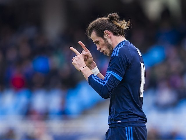 Gareth Bale celebrates scoring during the La Liga game between Real Sociedad and Real Madrid on April 30, 2016