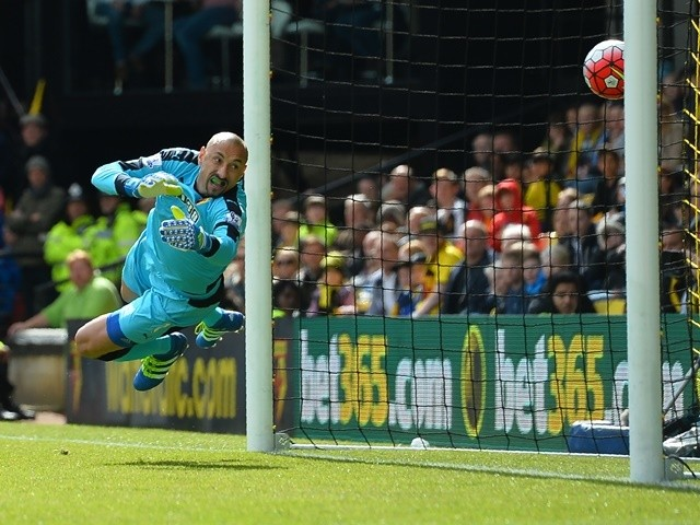Heurelho Gomes fails to stop Ciaran Clark's header during the Premier League match between Watford and Aston Villa on April 30, 2016
